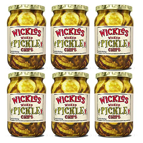 Wickles Wicked Pickle Chips, 16 oz Pack - 6