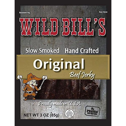 Wild Bills 3oz Hickory Smoked Beef Jerky Packs 4 re-sealable 3...