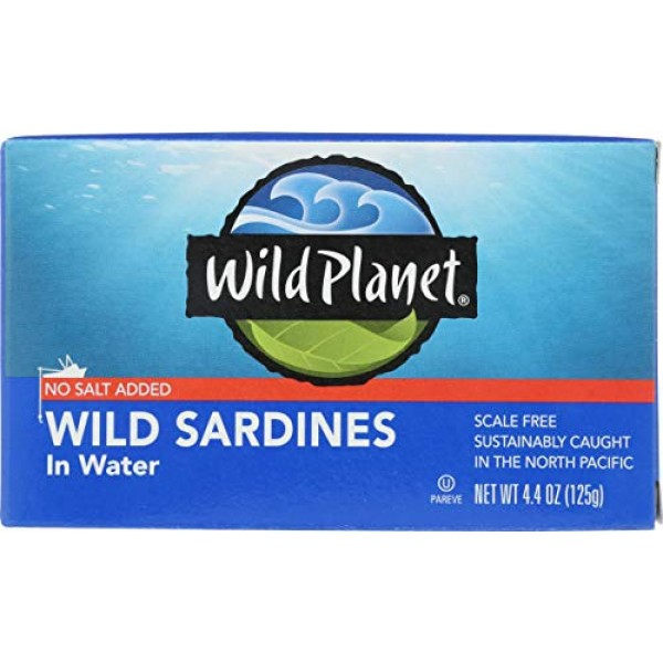 Wild Planet Sardines in Water, No Salt Added, Keto and Paleo, 4....