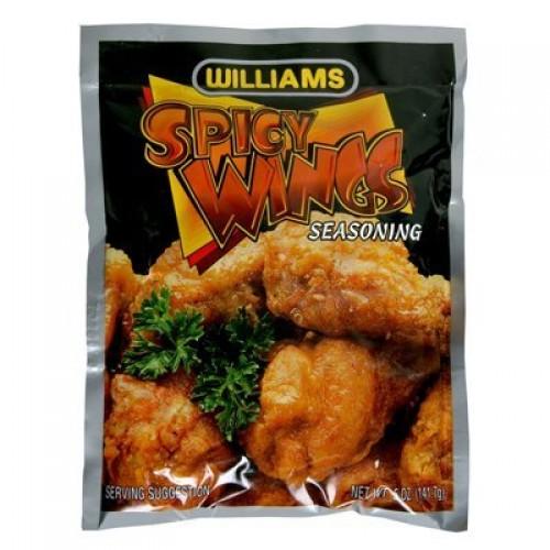 (2 Pack)-Williams Spicy Wings Hot Seasoned Coating Mix, 5 oz. each