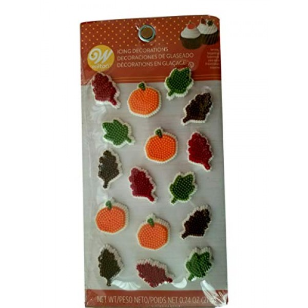Leaf Pumpkin Thanksgiving Fall leaves Icing Decorations 12 Ct Wi...