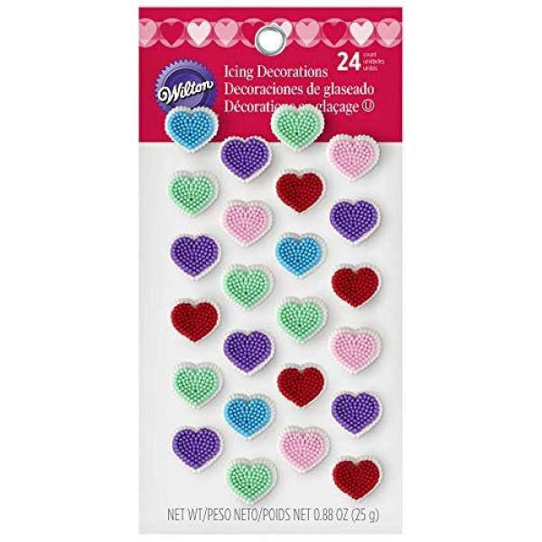 Wilton 710-1922 Confetti Heart Icing Decorations, 24-Count