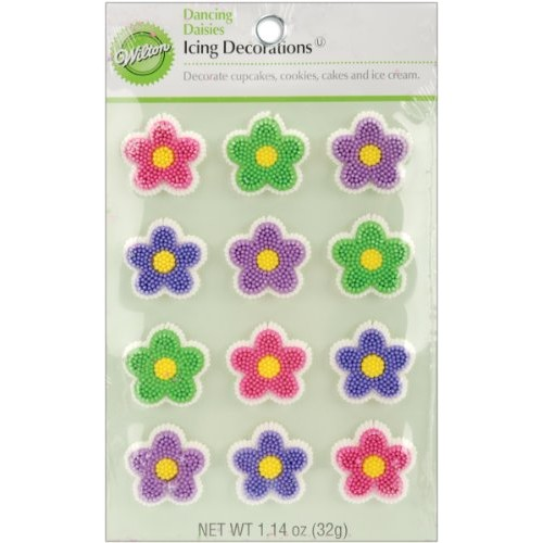 Wilton Icing Decorations, Dancing Daisies, 12-Pack
