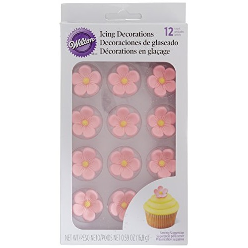 Wilton W101490 Royal Icing Decorations 12 Pack, 1, Petal Pink