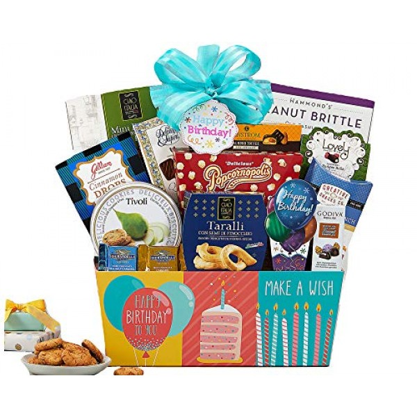 Happy Birthday Gift Basket filled with Ghirardelli Godiva Kettle...