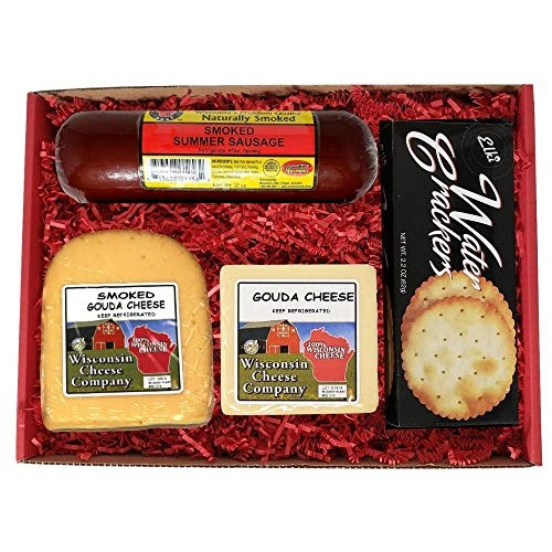 Wisconsin Deluxe Specialty Gouda Cheese, Sausage & Cracker Gift