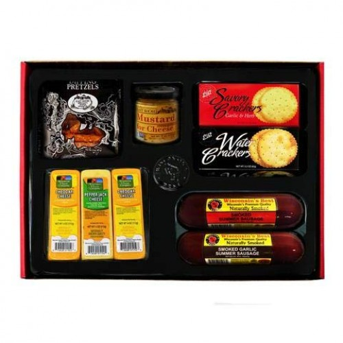 Deluxe Classic Gift Basket - features Summer Sausages, 100% Wisc...