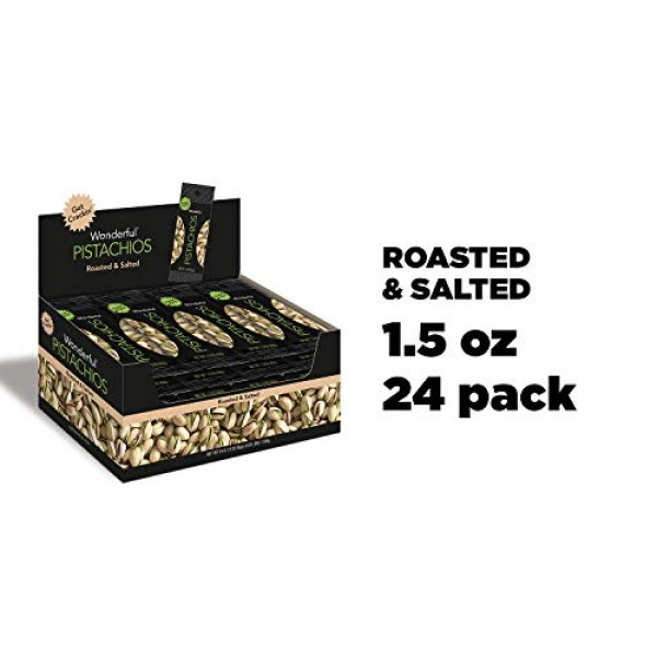 Wonderful Pistachios, Roasted and Salted, 1.5 Ounce Pack of 24