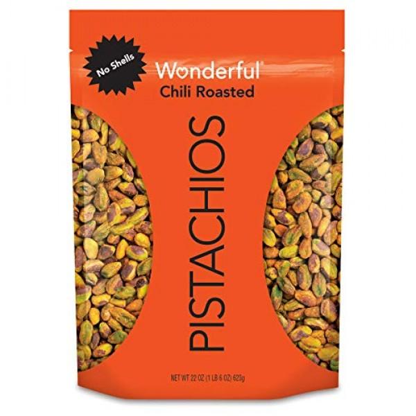 Wonderful Pistachios, No Shells, Chili Roasted, 22 Oz Resealable...
