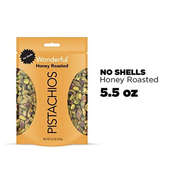 Wonderful Pistachios, No Shells, Honey Roasted, 5.5 Ounce Reseal...