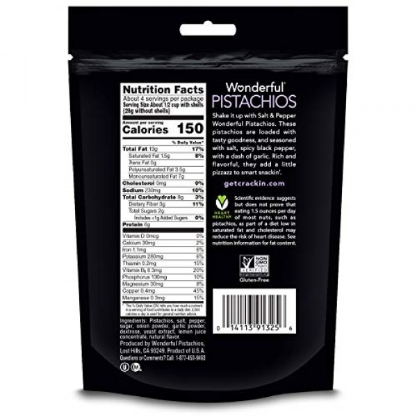 Wonderful Pistachios, Salt and Pepper Flavored, 7 Ounce Resealab...