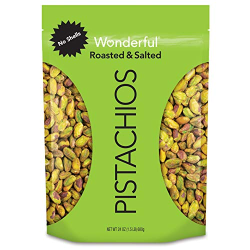 Wonderful Pistachios, No Shells, Roasted and Salted, 24 Ounce Re...