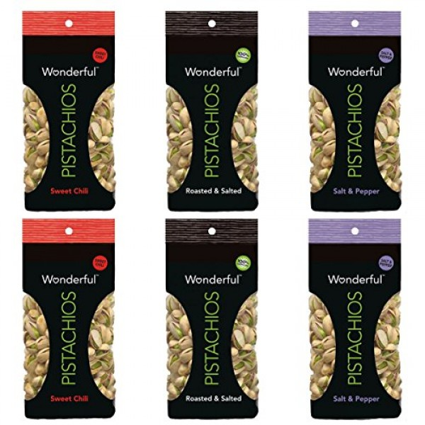 Wonderful Pistachios - 100 Calorie Variety Pack 3 Flavors, 6 Tot...