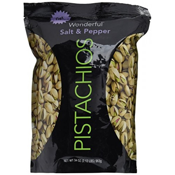 Wonderful Salt & Pepper Pistachios 34 Oz Pack of 1