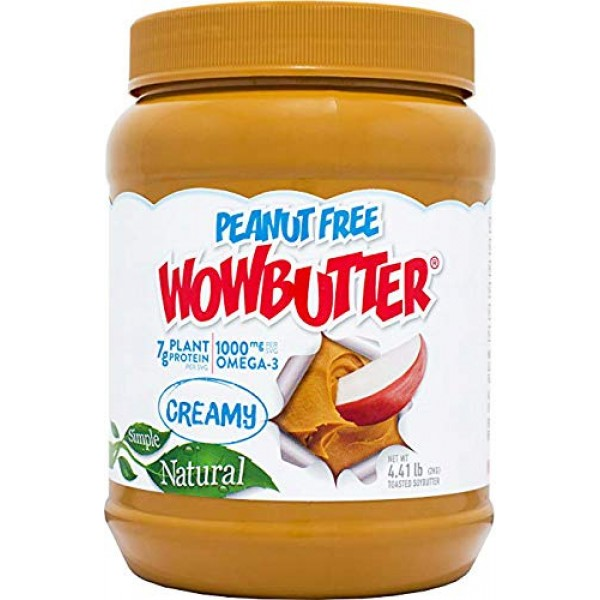 Wowbutter Natural Peanut Free Creamy 4.4lb Jars, 2 Pack