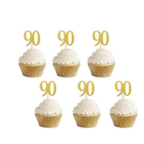 Gold Glitter 90th Birthday Cupcake Toppers Party Supplies Decora...