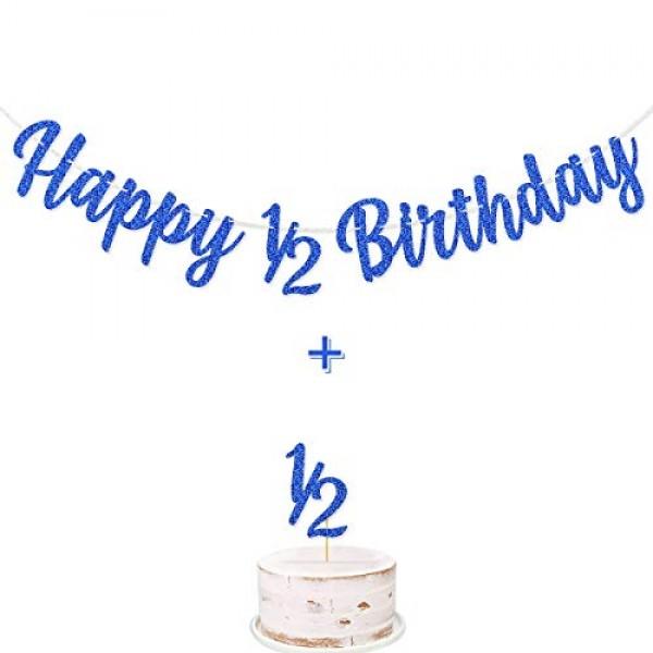 Happy 1/2 Birthday Banner Dark Blue Glitter Pre-Strung 1/2 Half ...