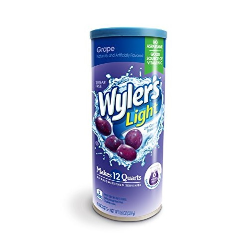 Wylers Light Canister Drink Mix - Grape Water Powder Enhancer C...