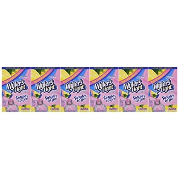 Wylers Light to Go Drink Mix, Pink Lemonade, Pack of 6