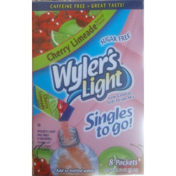 Wylers Cherry Limeade Soft Drink Mix 8 Packets In Each Box 12 ...