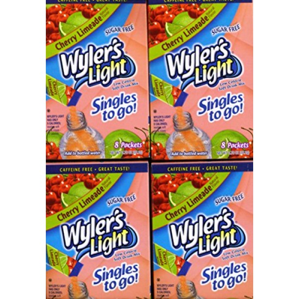 Wylers Light Cherry Limeade Sugar Free Singles 4 Boxes