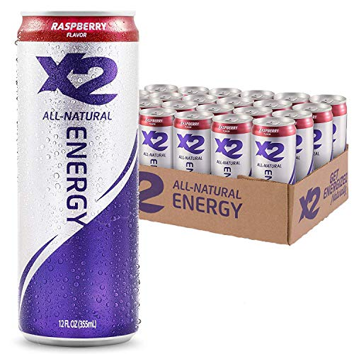 X2 Raspberry All Natural Healthy Energy Drink, Pack of 24: Great...