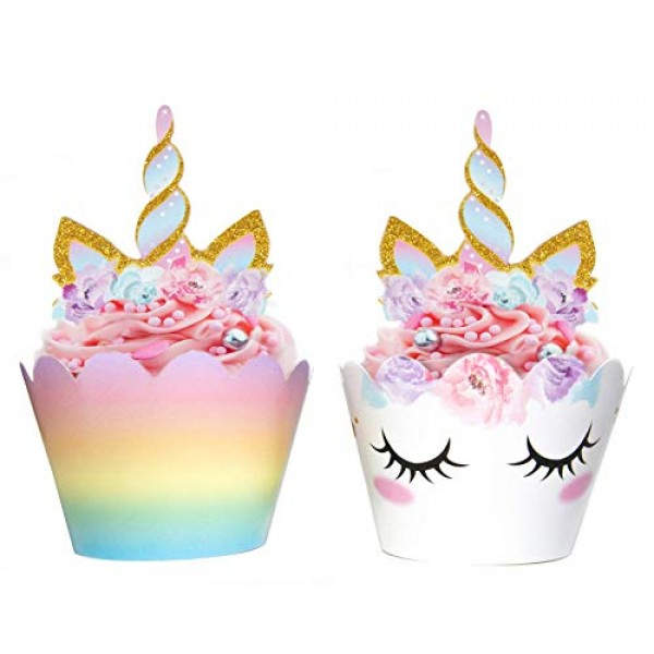 Unicorn Cupcake Decorations, Double Sided Toppers and Wrappers, ...