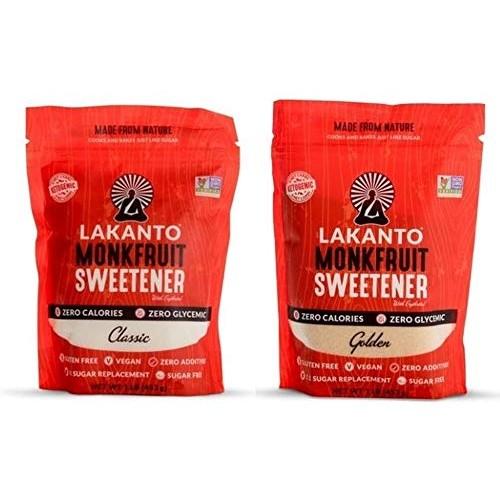 Monkfruit Natural Sweetener Variety Pack, Lakanto Classic & Gold...