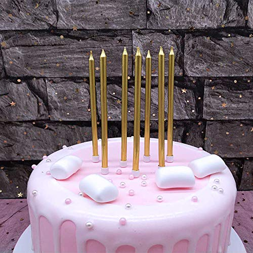 XNOVA 12 Count Long Thin Champagne Gold Birthday Cake Candles in...