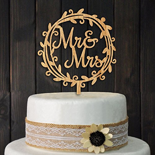 YAMI COCU Mr and Mrs Cake Toppers Rustic Wood Wedding Party Enga...