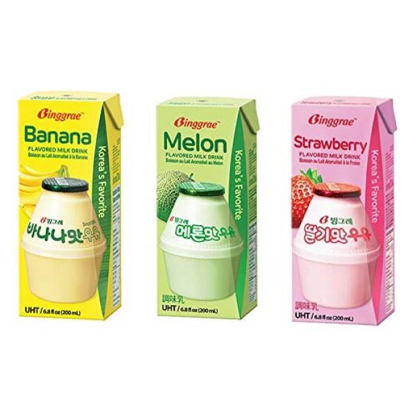 Biggrae Flavored Milk Series; Banana6, Strawberry6, Melon6...