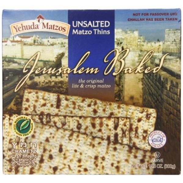 Yehuda Jerusalem Baked Unsalted Matzo, 10.5 oz