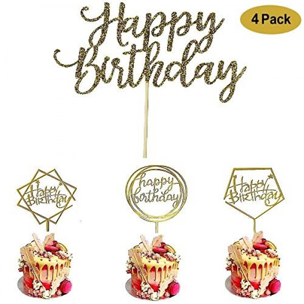 4 Pack Happy Birthday Cake Topper Acrylic, Birthday Cake Topper ...