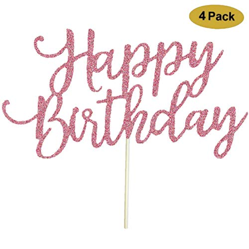 4 Pack Happy Birthday Cake Topper Rose Gold 1st First