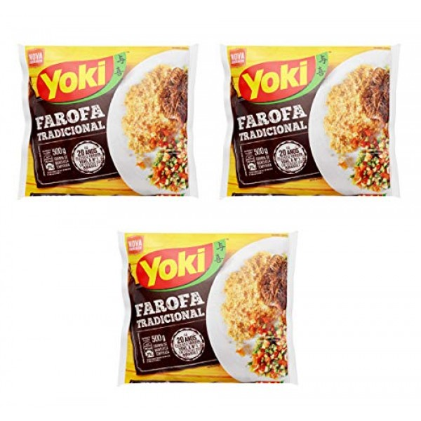Yoki Farofa Tradicional Seasoned Cassava Flour 17.6 ouces 3 Pack