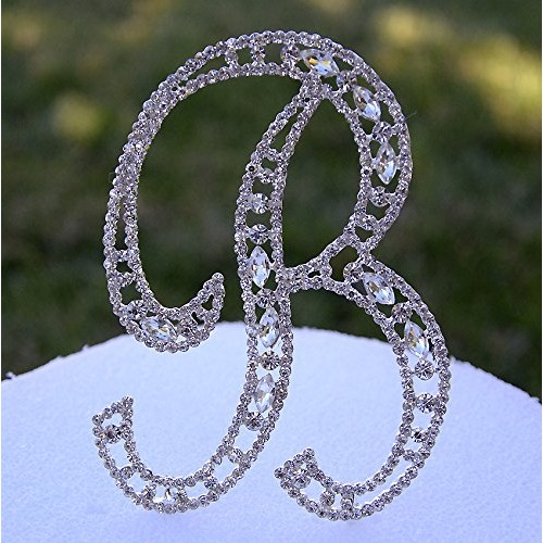 Large 5 Crystal Rhinestone Silver Cake Topper Letter B Monogr...