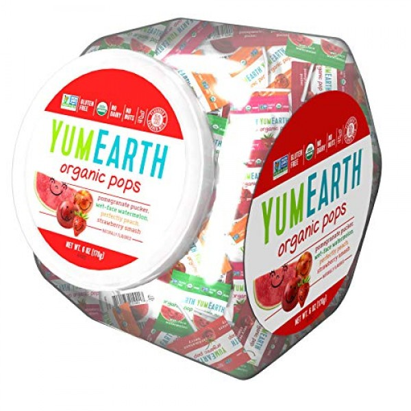 YumEarth Organic Fruit Lollipops, 6 Ounce Container Pack of 5