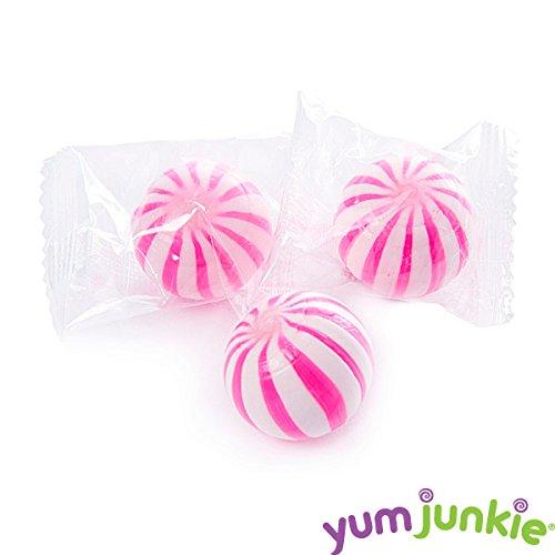 YumJunkie Sassy Spheres Pink Striped Candy Balls, Strawberry, 5 ...