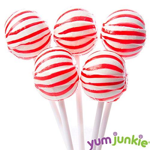 YumJunkie Sassy Suckers Red Striped Ball, Cherry, 5 Pound