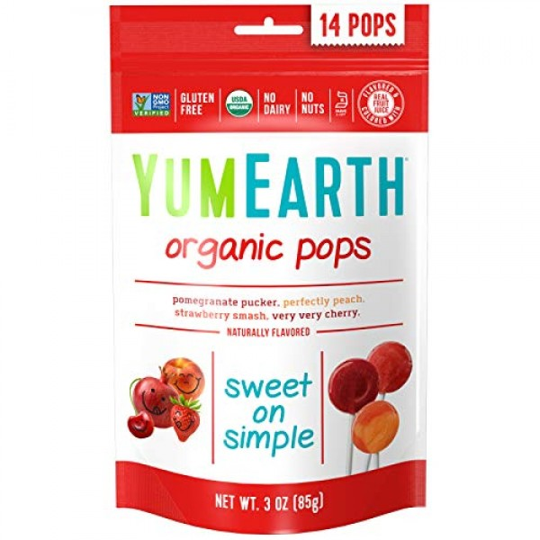 YumEarth Organic Lollipops Assorted Flavours 85g 14 unit bags ...