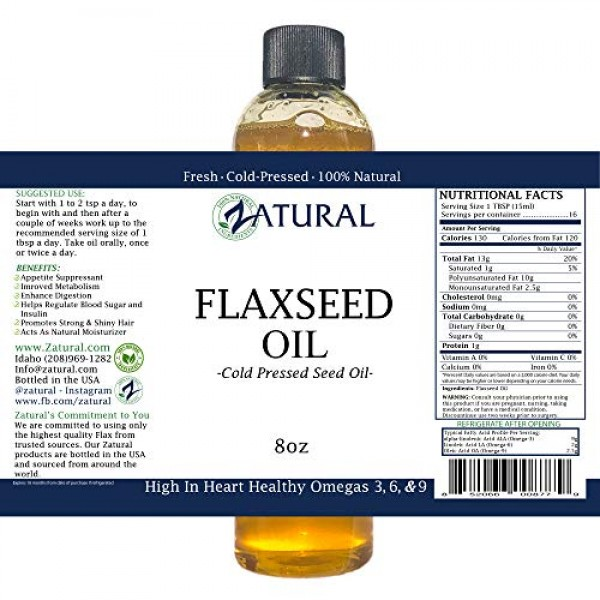 FlaxSeed Oil - 100% Pure Flax Seed Oil - 0 Additives - 0 Fillers...