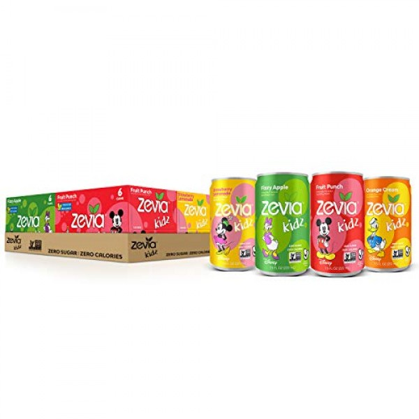Zevia Kidz Sparkling Drink, Variety Pack, 7.5 Ounce Cans Pack o...