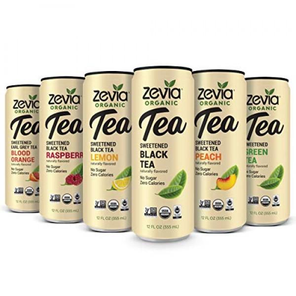 Zevia Organic Tea Time Variety Pack, 12 Count, Sugar-Free Brewed...