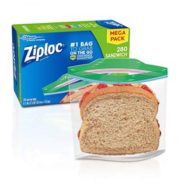 Ziploc Sandwich Bags, Easy Open Tabs, 280 Count