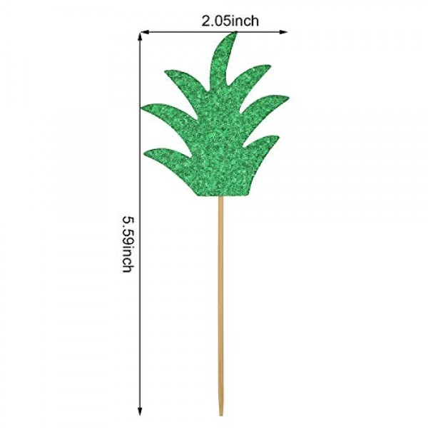 48 Pieces Glittery Cupcake Topper with Pineapple and Palm Leaf D...