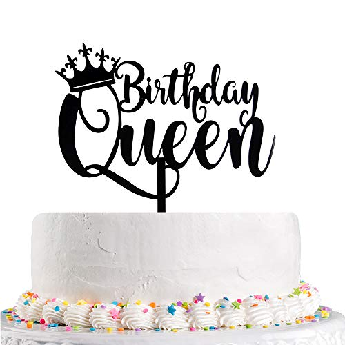 Queen Birthday Cake Topper Black Happy 16t