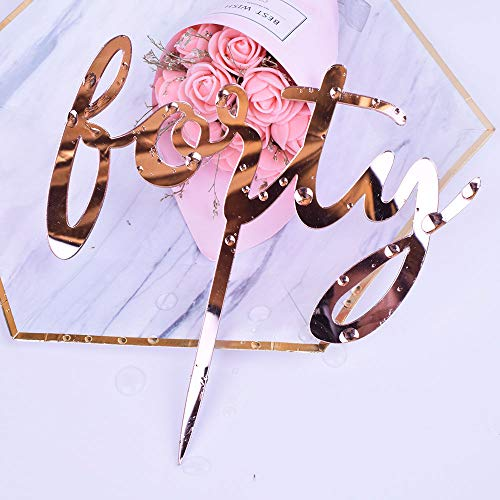 YUINYO Happy Birthday Cake Topper Acrylic Rose Gold 40th Birthda