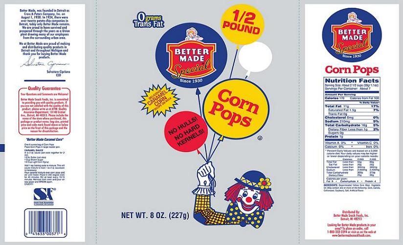 Corn Pops Recall by Pretzels Incorporated